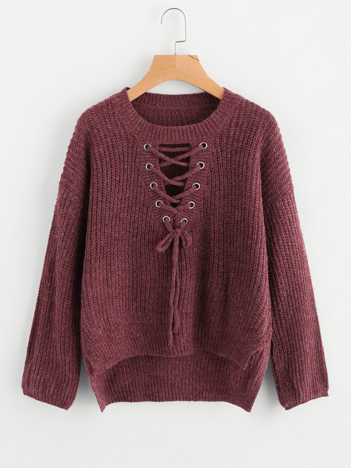 Shop Eyelet Lace Up Dip Hem Sweater online. SheIn offers Eyelet Lace Up Dip  Hem Sweater   more to fit your fashionable needs. c6ef9734c