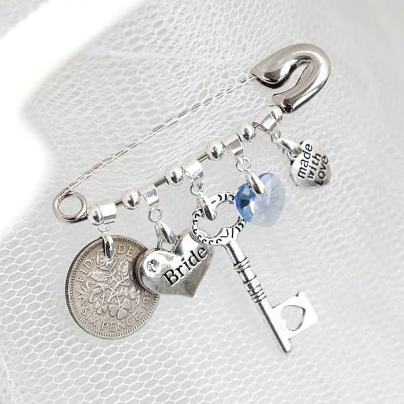 Something Borrowed Wedding Ideas: Bridal Pin Something Old New Borrowed Blue Wedding Pin