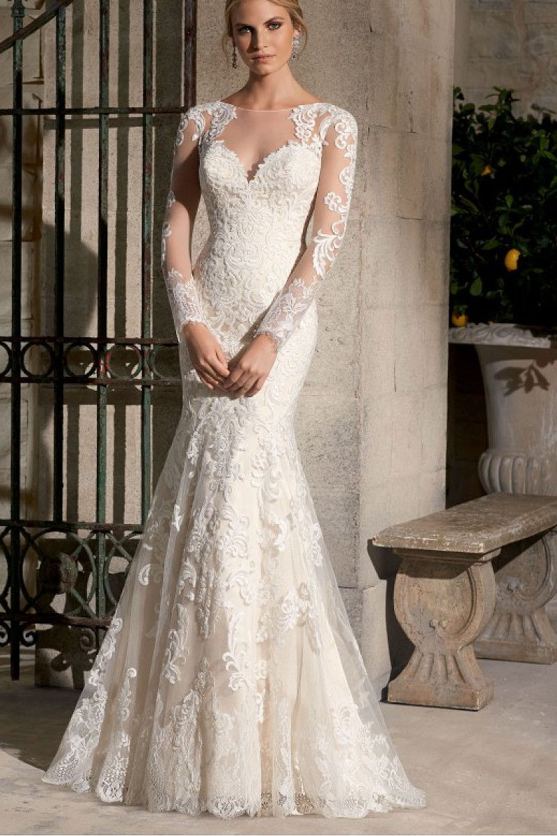 2016 Bateau Court Train Tulle Long Sleeves Wedding Dresses - by ...
