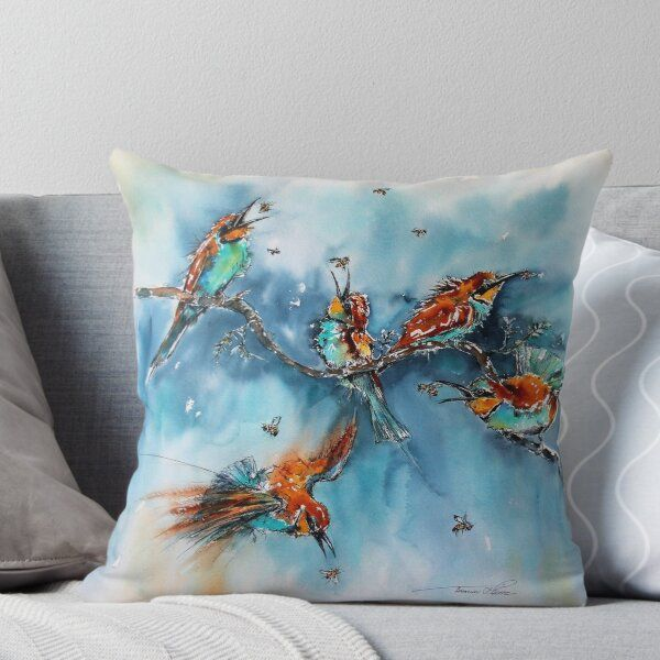 Catching Bees Throw Pillow by TamrynPohlArt