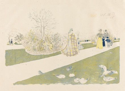 Vuillard, Edouard, 1868 - 1940 The Tuileries Garden (Le jardin des Tuileries) published 1896 color lithograph on china paper