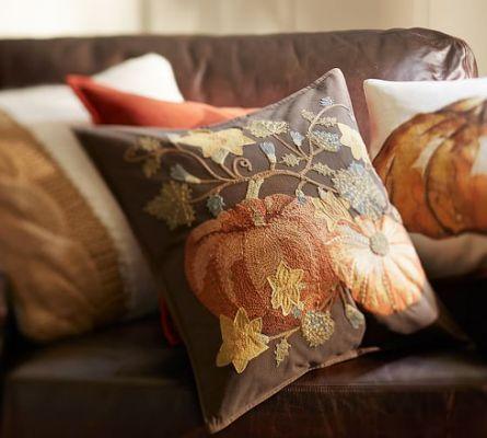 Pumpkin Patch Crewel Embroidered
