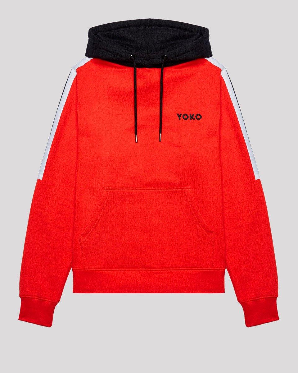 Hoodie rouge et noir YOKO SHOP Vêtements streetwear
