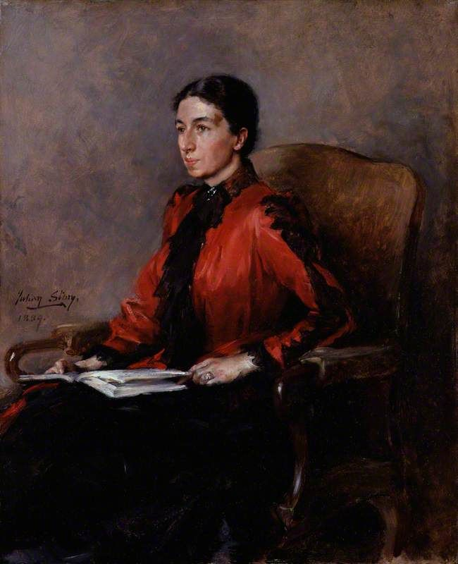 Mrs Humphry Ward (Mary Augusta Ward, née Arnold), 1889. John Russell Story. Oin on canvas,      National Portrait Gallery, London.