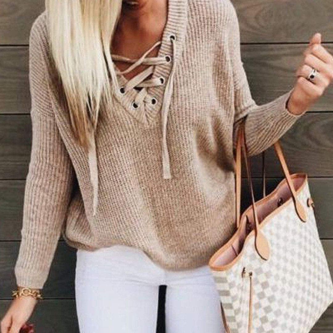 Cute Casual Fall Outfit Ideas for Teen Girls for School - Lace Up Criss  Cross Knitted Pullover Sweater with Jeans - Ideas lindas del equipo de  primavera ... 77f1c9d6d