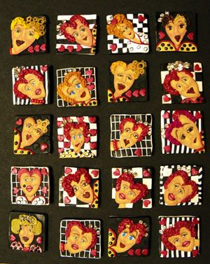 The Queen of Hearts, Inchies Swap, Polymer Clay Italia by Alice Stroppel
