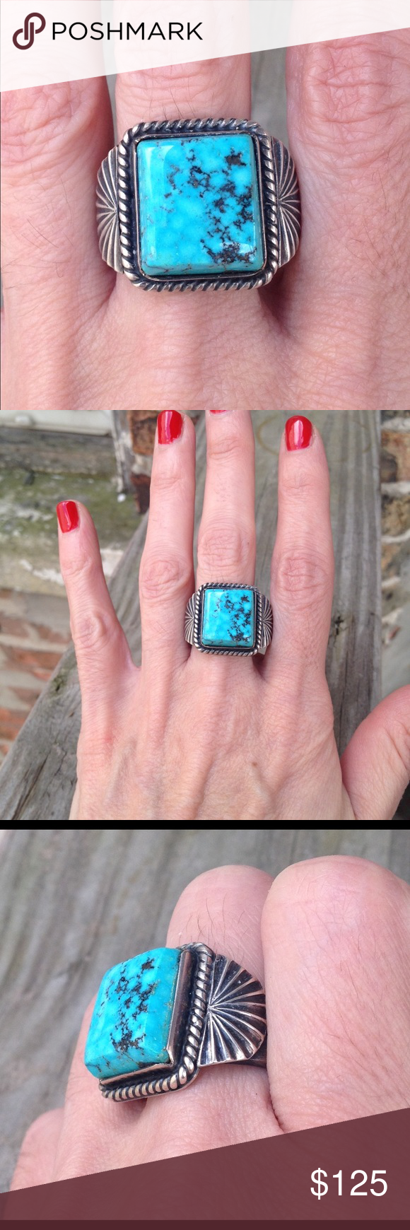 Vintage Native American Silver Ring | Turquoise stone, Native ...
