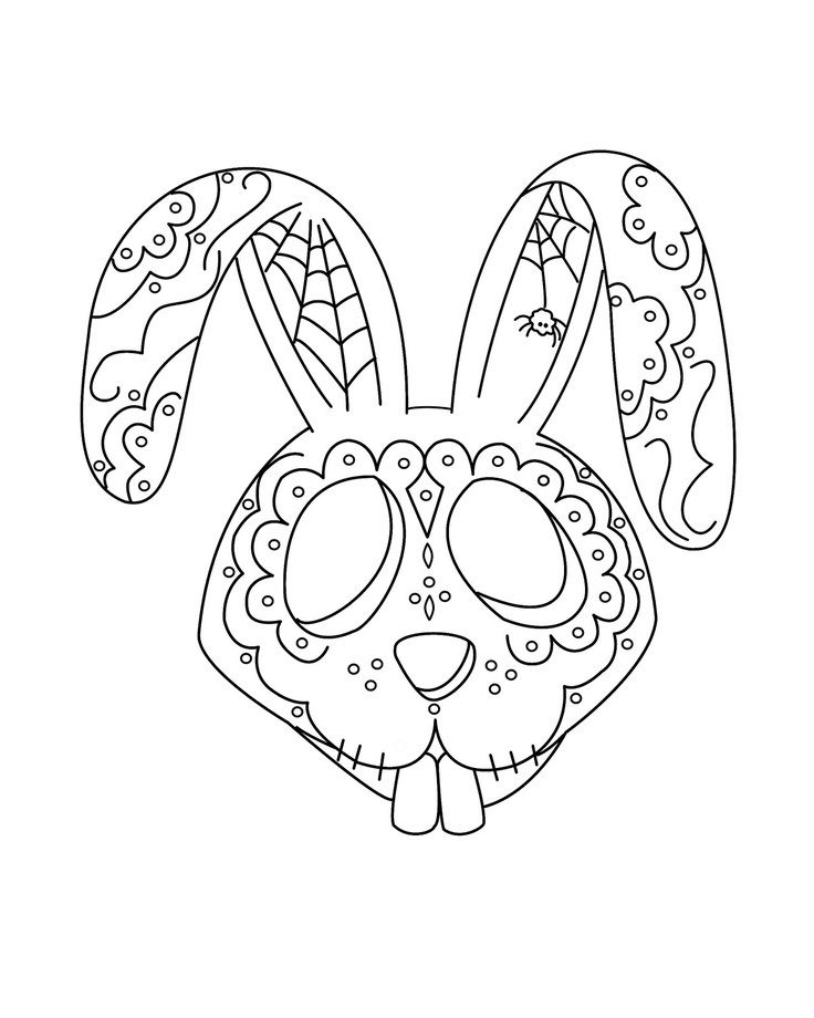 Day Of The Dead Art For Coloring Skull Coloring Pages Bunny Coloring Pages Coloring Pages