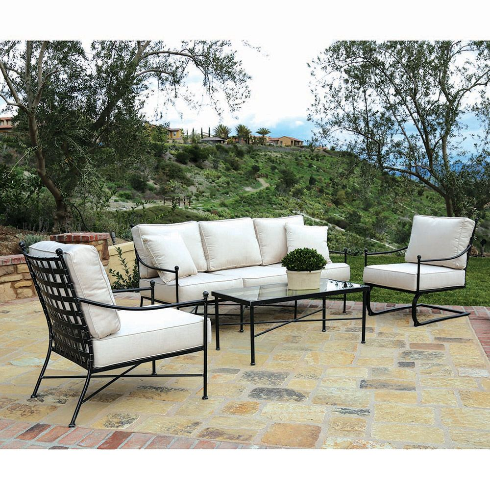 Sunset West Provence French Country Glass Top Black Metal Outdoor Coffee Table Backyard Furniture Iron Patio Furniture Wrought Iron Patio Furniture [ 1000 x 1000 Pixel ]