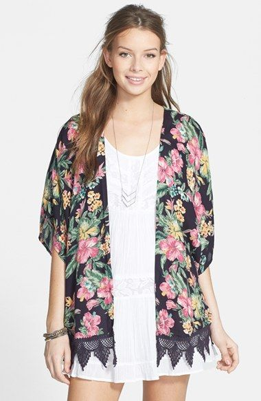 9ad401c0a Rip Curl 'Paradise Found' Print Lace Trim Kimono (Juniors) available ...