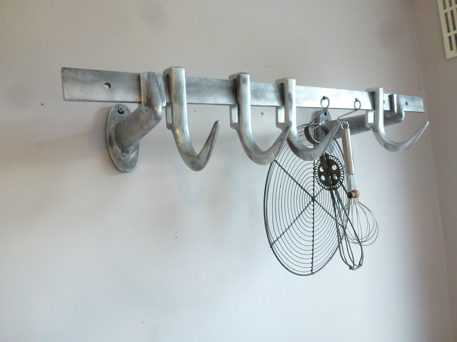 Vintage German Metal Butchers Meat Hooks Rail Display Holder Rack ...