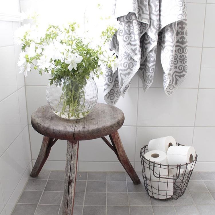 small wooden stool as table for bathroom | Humble Abode | Pinterest ...
