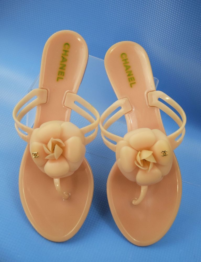 EUC CHANEL Italy Camellia Jelly Flip Flop Sandals Flats CC in Peach Size 40 #CHANEL #FlipFlops