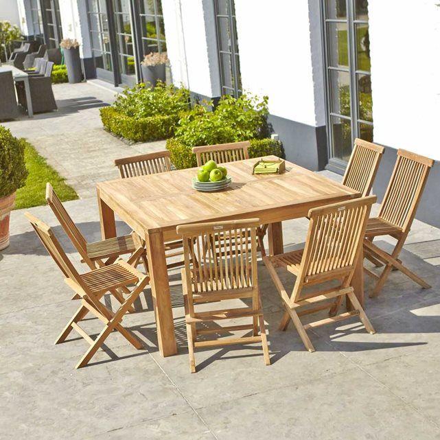 Image Salon de jardin en TECK BRUT QUALITE GRADE A - Table carrée + ...