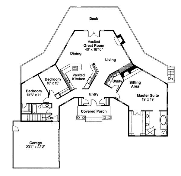 Contemporary e Story House Plan with 3 Beds 2 Baths 2 Car Garage Level e
