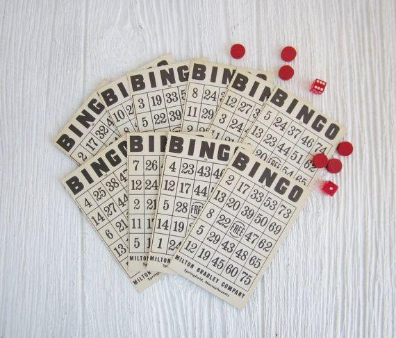 10 Vintage Bingo Cards by Milton Bradley by CornerHouseAntiques, $8.00
