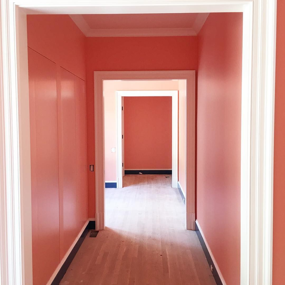 Looking down the hall from the master bedroom to the main part of ...