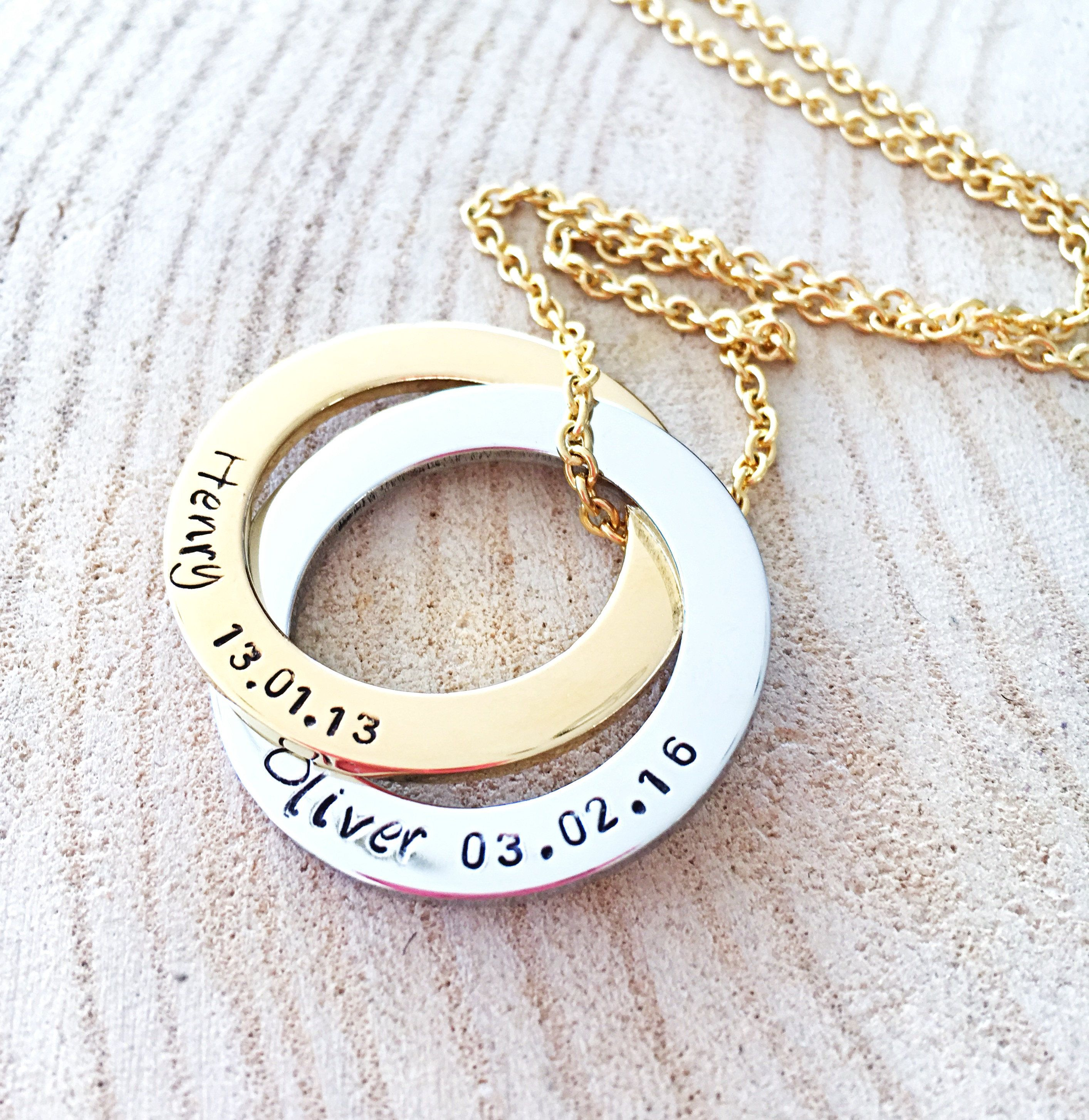 Connecting Rings Necklace Personalized Jewelry Anniversary Gift