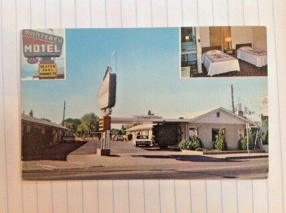 Monterey Motel Albuquerque New Mexico Postcard Old Cars Sign Central Ave Antique Postcard Old Postcards Postcard