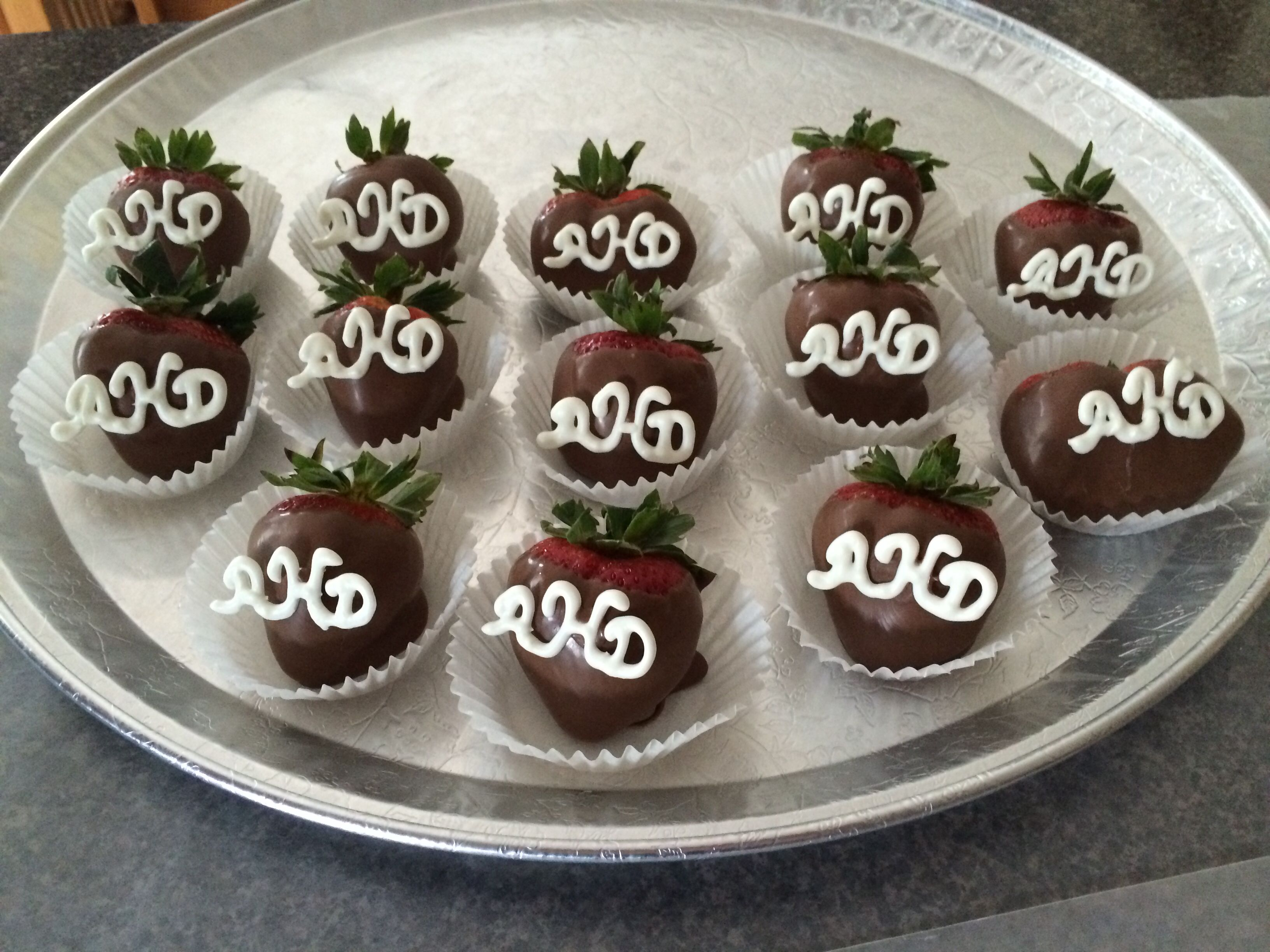 cupcake recipes for bridal shower%0A Monogram strawberries for the bridal shower