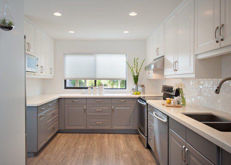 Mobilier de cuisine bicolore pour donner vie son endroit for Meuble de cuisine gris clair