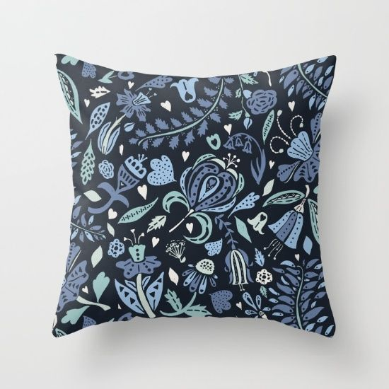 Pretty Floral Repeat Pattern In Shades Of Blue And Teal