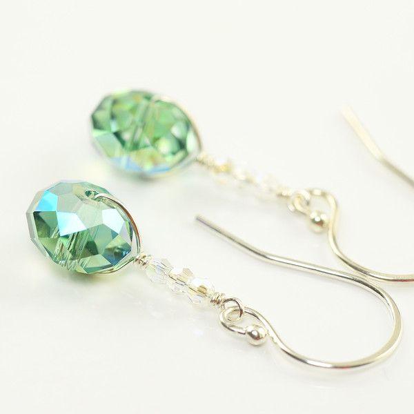 Trending Top Spring color || ► Hemlock ◄ || http://southpawonline.com/products/hemlock-green-crystal-earrings
