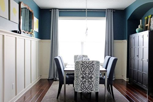 Lovely turquoise dining room with board and batten. blue and white   Dream Home   Pinterest   Batten  Room and Bold colors