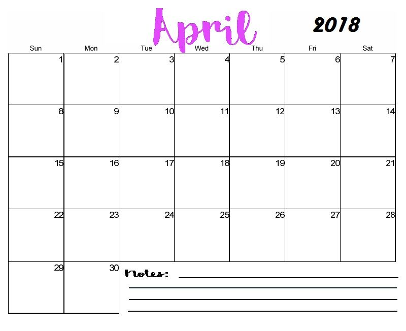 Free Printable Blank April Calendar 2018 MaxCalendars - printable monthly calendars