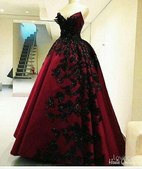 Red and Black Elegant Evening Gowns