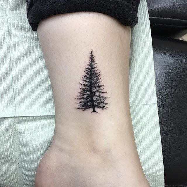 Small pine tree tattoo from a walk-in today. Done at ...