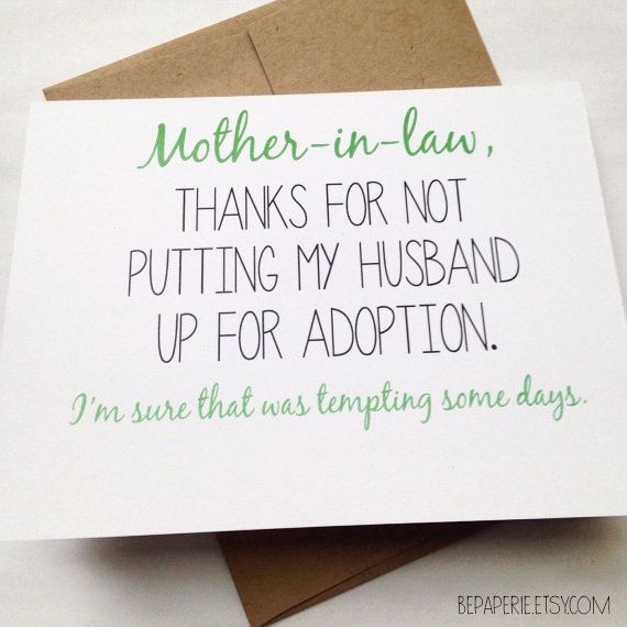 Mother In Law Card Mothers Day Mom Birthday By BEpaperie