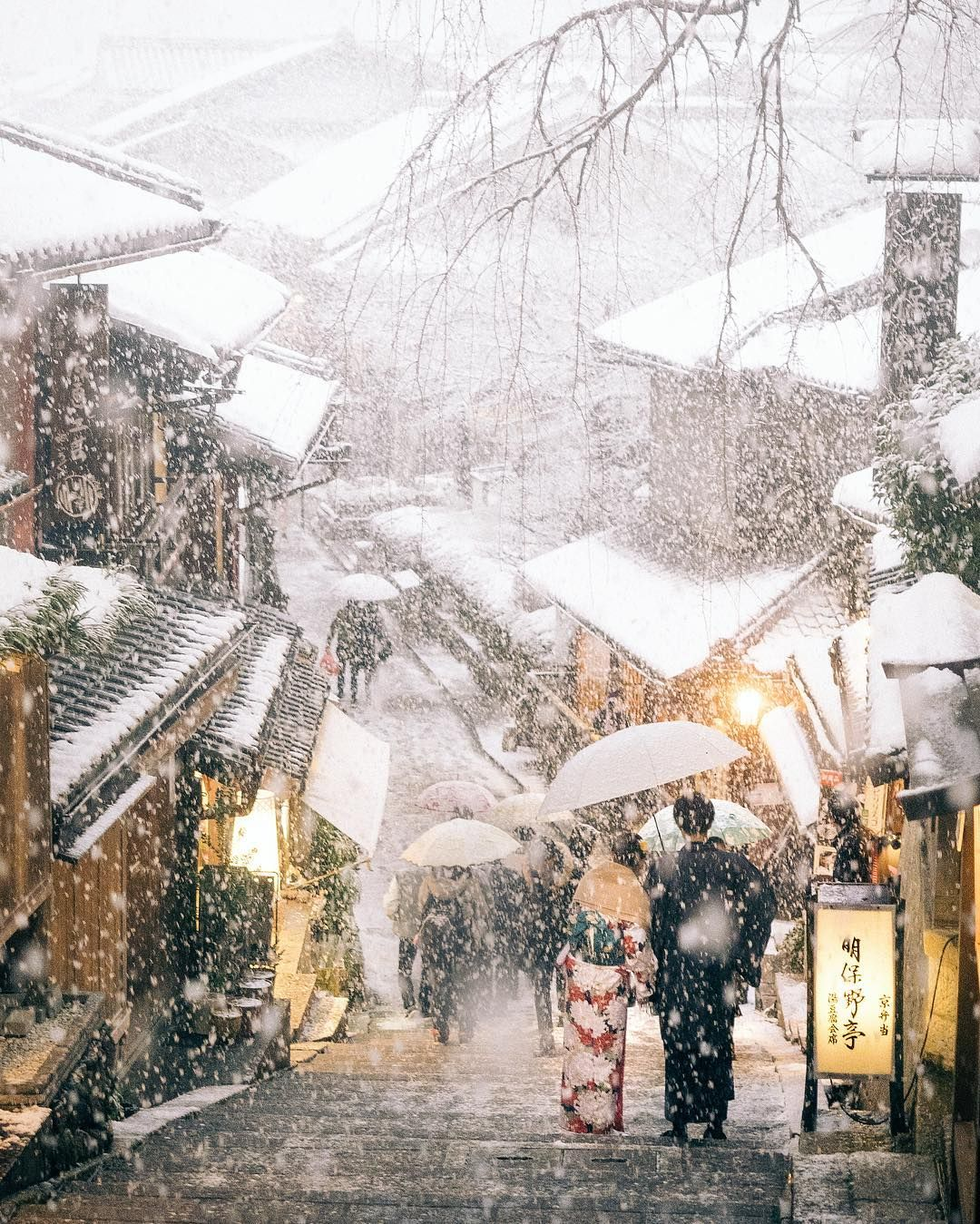 In The Snowing Town - Kyoto, Japan