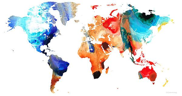 Travel world maps map maps world map world earth wall decor map of the world 8 colorful abstract art painting by sharon cummings map of the world 8 colorful abstract art fine art prints and posters for sale gumiabroncs Images
