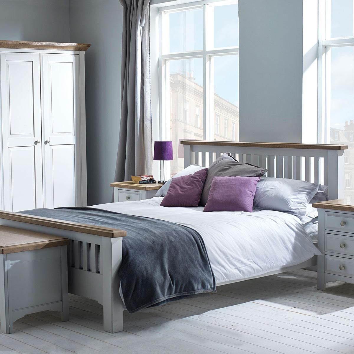 grey painted wall painted bedroom furniture white bed cover white