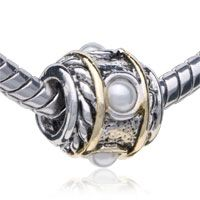 Pugster Cylindrical Shaped Pearl Purity Two Tone Plated Style Pandora Bead