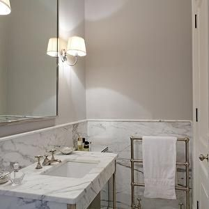 3x6 marble tile wainscotting with