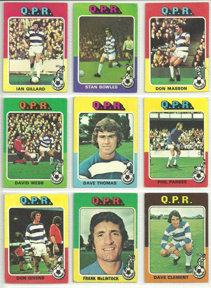9 x 1975 topps red cards qpr qpr football trading