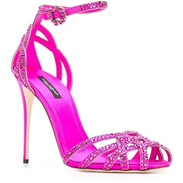 Dolce & Gabbana crystal embellished stiletto sandals ($1,330) ❤ liked on Polyvore featuring shoes, sandals, ankle tie sandals, purple shoes, embellished sandals, ankle wrap sandals and leather shoes