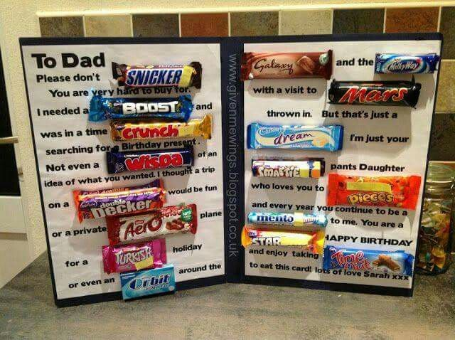 Chocolate Bar Card Birthday Candy Presents For Dad 16th Father