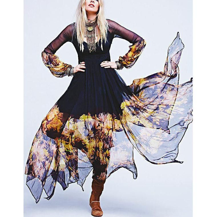 Elegant Chiffon Floral-Printed Ruched Maxi Dress   Boho ...