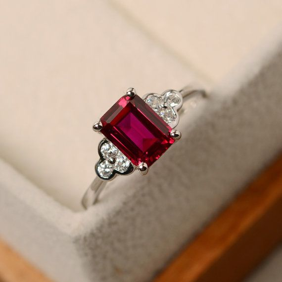 Vintage Gemstone Ring Solitaire Ring Ruby Solitaire Ring July Birthstone Vintage Ruby Ring Red Stone Ring Red Gemstone Ring