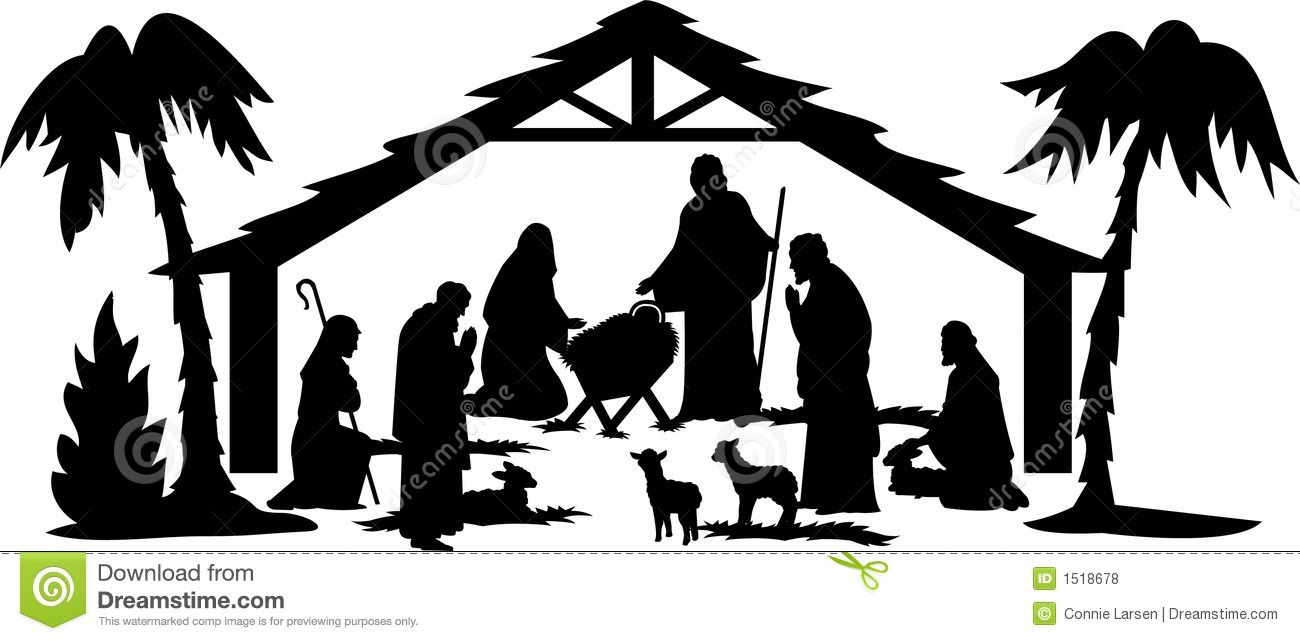 Black and White Nativity Clip Art | Illustration of a ...