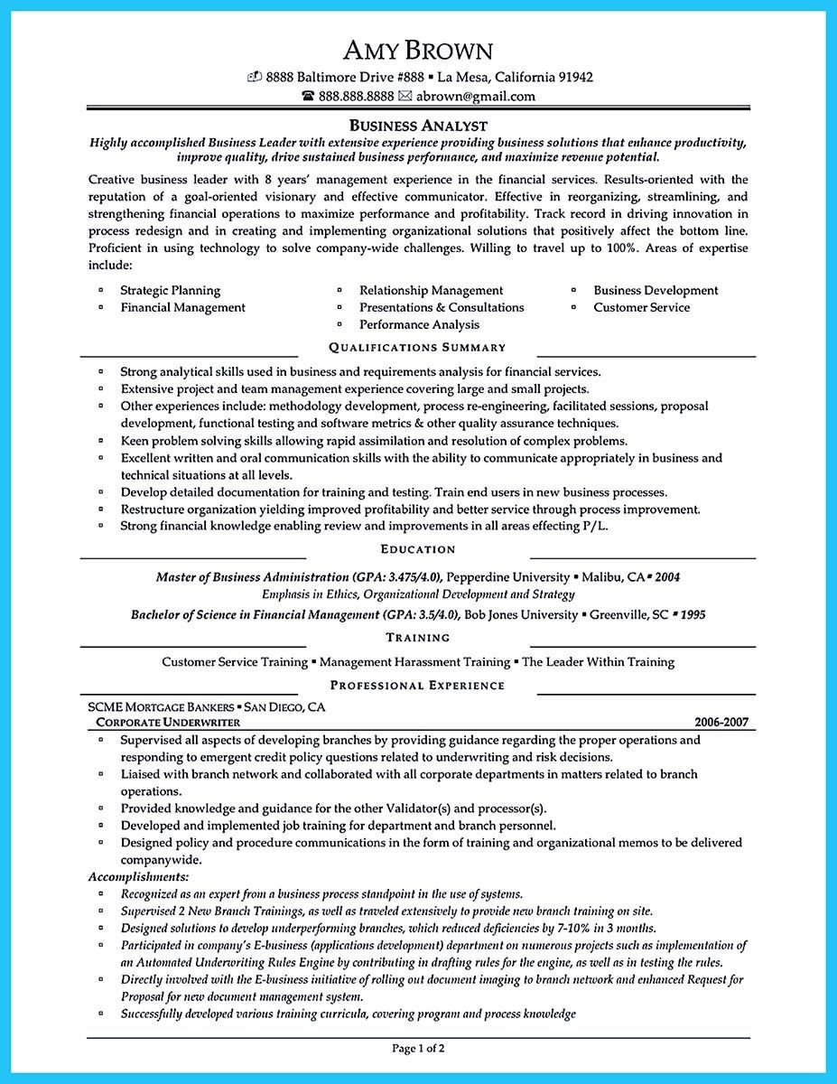 Business Resume Examples Nice Create Your Astonishing Business Analyst Resume And Gain The
