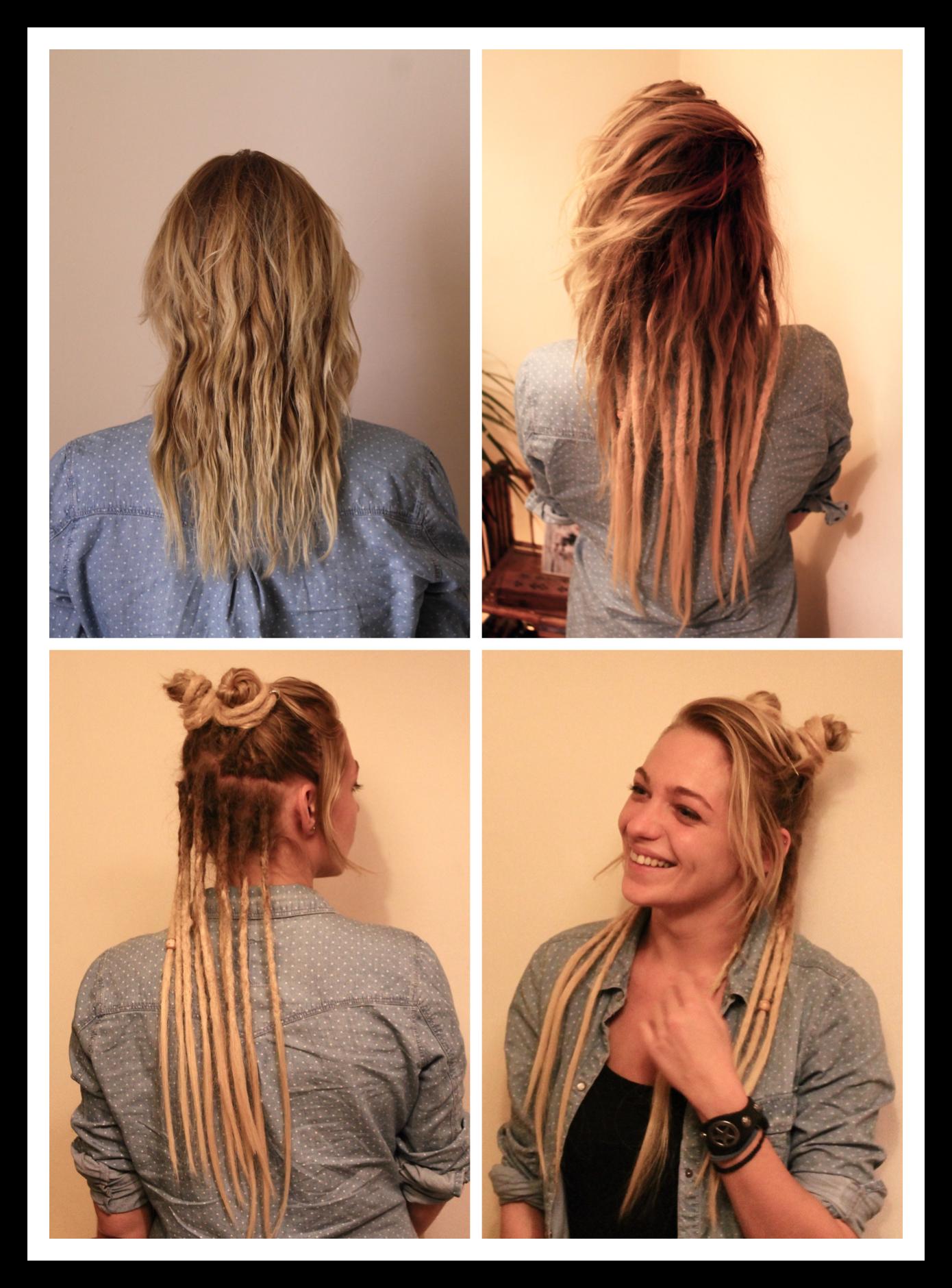 J Aime Beaucoup Experimenter Avec Les Dreads Tous Les Jours Differents Chignons Une Idee C Est De Les Tourner Com Hippie Hair Hair Styles Half Dreaded Hair