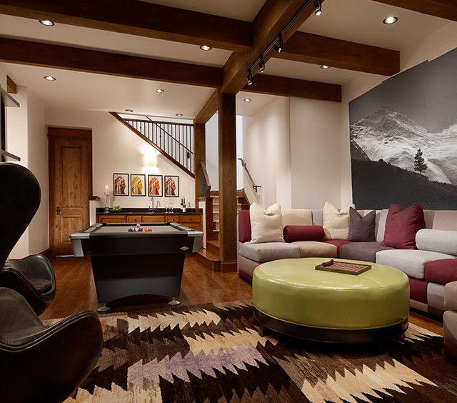 Rustic Finished Basement Ideas: 48 Transitional Style Basement Designs