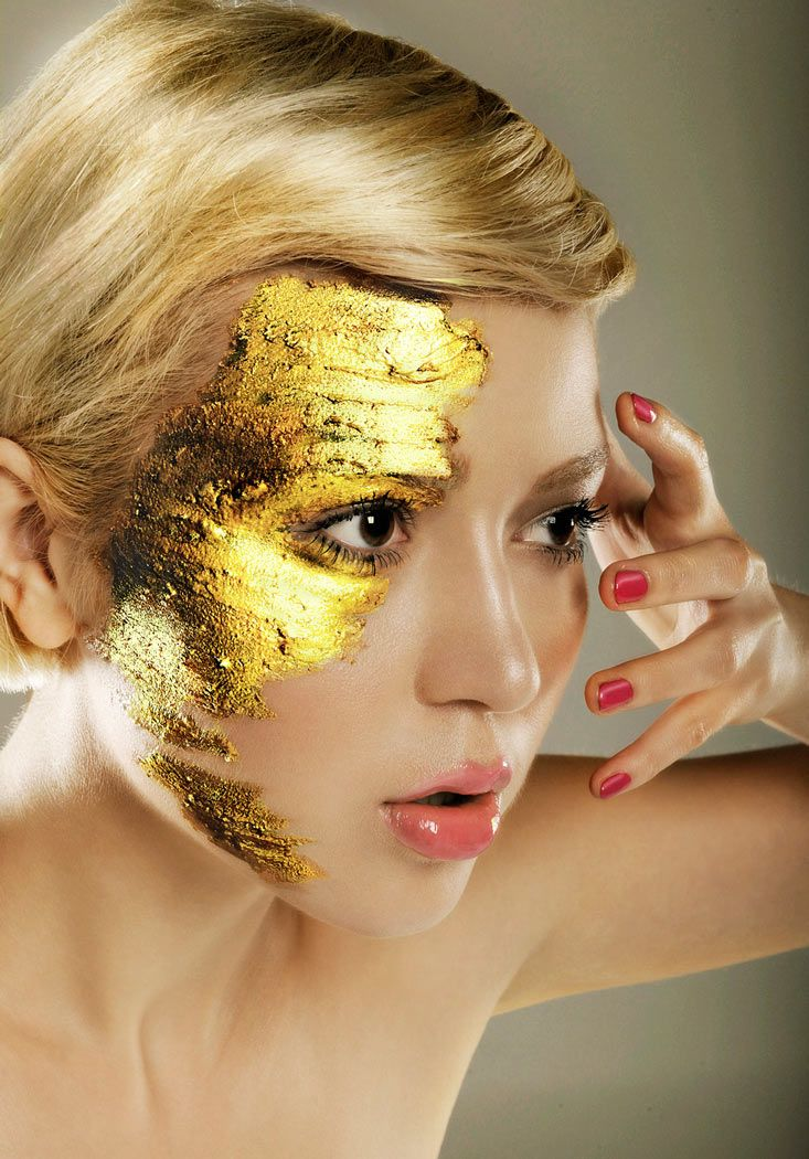 Gold leaf makeup retouching gold make up Pinterest
