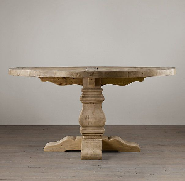 Rh S Salvaged Wood Trestle Round Dining Table Handsomely