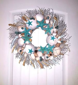 """21"""" Sea Shell Wreath with Oasis Blue Knobby Star Fish & Blue Limpets"""