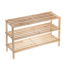 3 Tier Stackable Wood Shoe Rack Bed Bath And Beyond 14 99